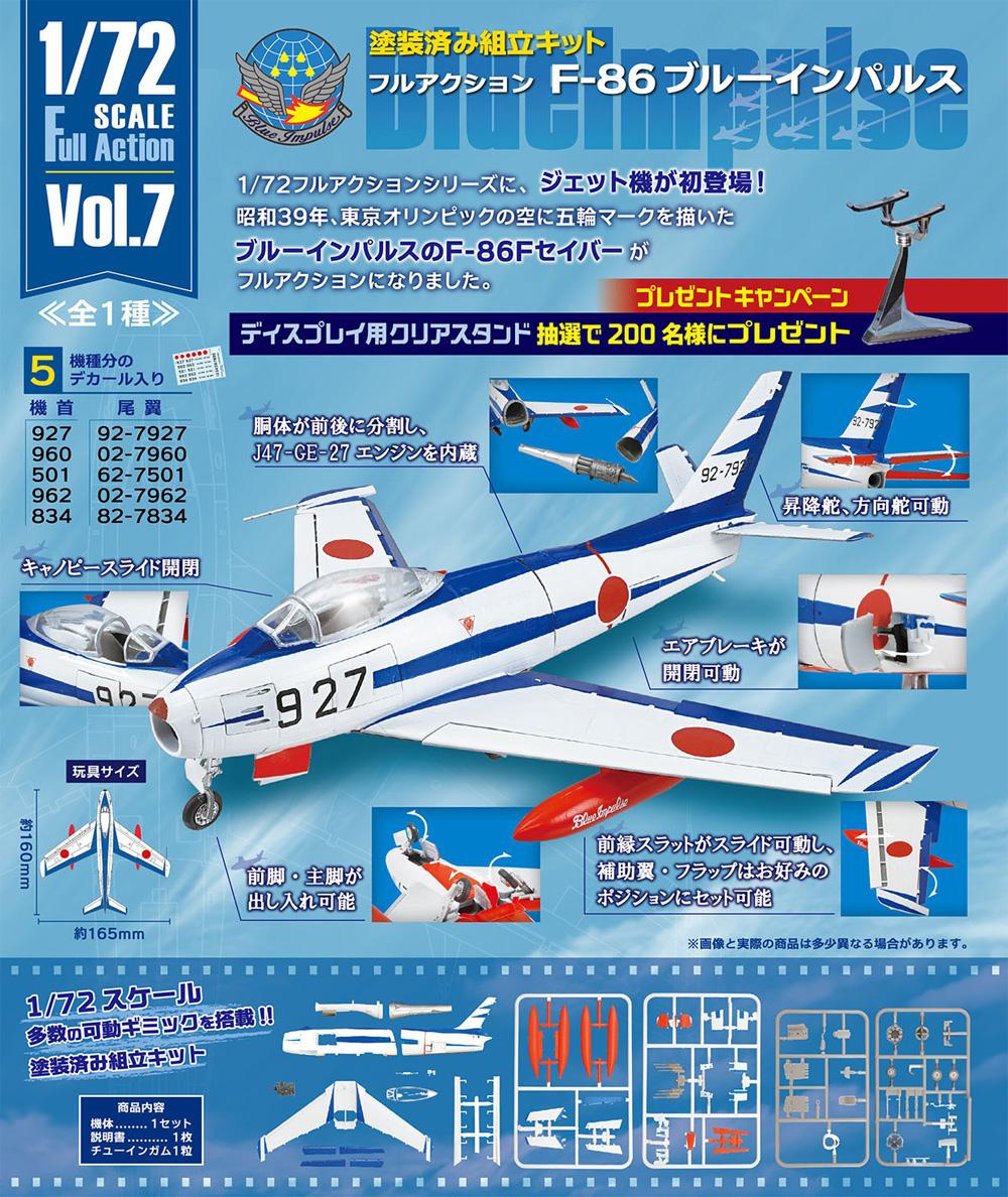 フルアクション F-86 ブルーインパルスプラモデル(エフトイズ1/72 フルアクションNo.Vol.007)商品画像_1