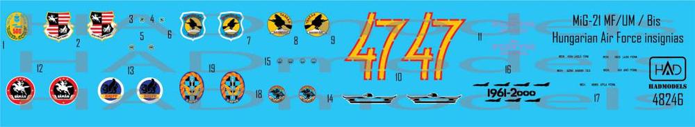 MiG-21MF/Bis/UM ハンガリー空軍 デカールデカール(HAD MODELS1/48 デカールNo.48246)商品画像_1