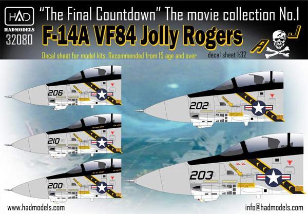 F-14A トムキャット ジョリーロジャース ファイナルカウントダウン デカールデカール(HAD MODELS1/32 デカールNo.32080)商品画像
