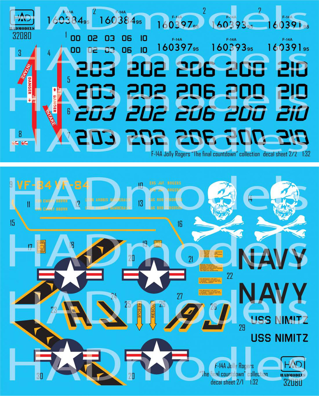 F-14A トムキャット ジョリーロジャース ファイナルカウントダウン デカールデカール(HAD MODELS1/32 デカールNo.32080)商品画像_1