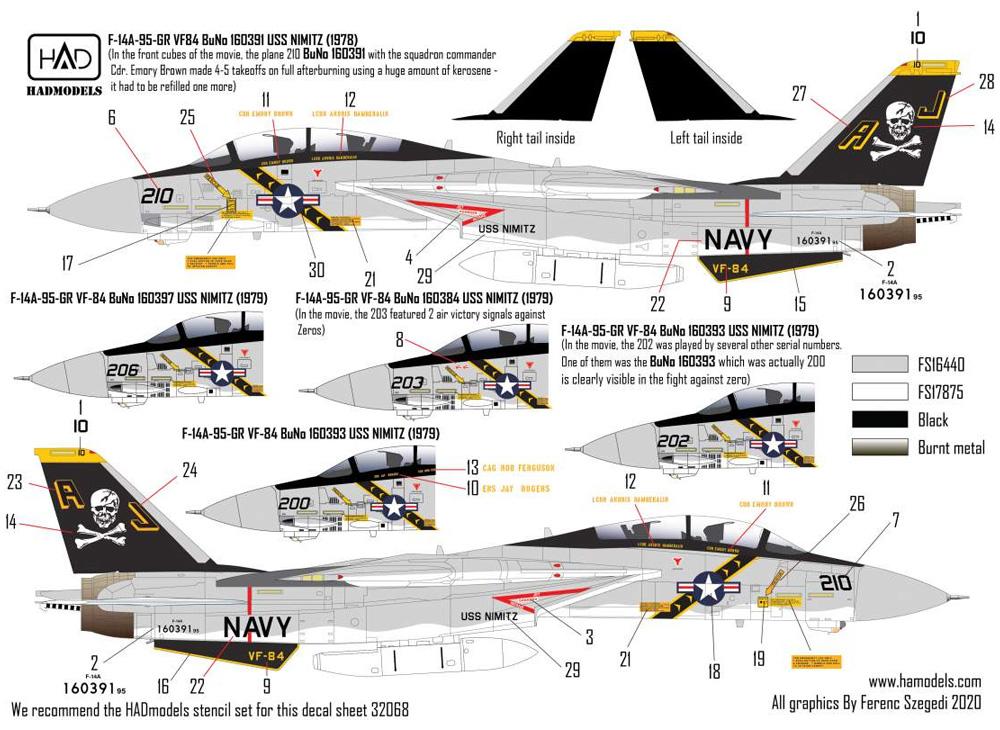 F-14A トムキャット ジョリーロジャース ファイナルカウントダウン デカールデカール(HAD MODELS1/32 デカールNo.32080)商品画像_2