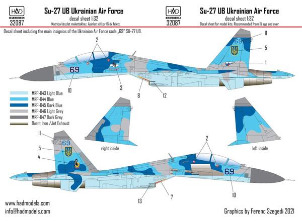 スホーイ Su-27UB ウクライナ空軍 デカールデカール(HAD MODELS1/32 デカールNo.32087)商品画像