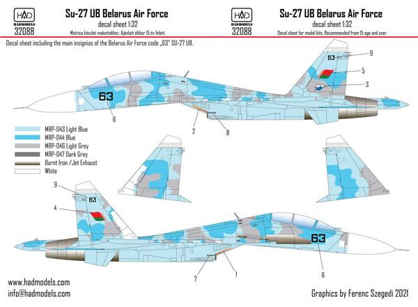 スホーイ Su-27UB ベラルーシ空軍 デカールデカール(HAD MODELS1/32 デカールNo.32088)商品画像
