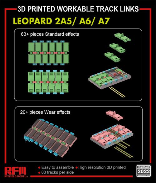 レオパルト 2A5/A6/A7 可動式履帯 (3Dプリンター)レジン(ライ フィールド モデルUpgrade Solution SeriesNo.2022)商品画像