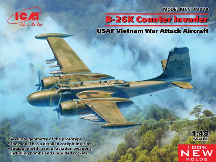 B-26K カウンター インベーダー アメリカ空軍 ベトナム戦争 攻撃機プラモデル(ICM1/48 エアクラフト プラモデルNo.48279)商品画像
