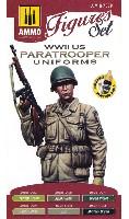 アモFIGURES SET (Acrylic Color)WW2 アメリカ 落下傘兵 野戦服 カラーセット